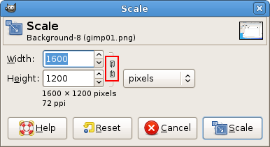 Scaling in GIMP